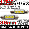 2x 38mm NUMBER PLATE INTERIOR 6000k BRIGHT WHITE 3 SMD LED C5W FESTOON BULB UK