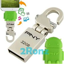 PNY Mini-Hook + OTG Adapter 32GB 32G USB Flash Drive Mobile Android Robot Green