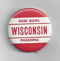 1963 WISCONSIN Badgers Rose Bowl button pin back vintage original