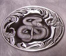 Pewter Belt Buckle animal Coiled Rattlesnake black NEW