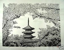 "o2721,Japanese Wood-block print ,H.Yuasa,""Cherry blossoms of Ninna-ji Temple"""