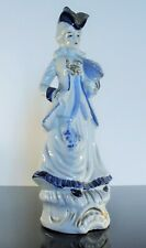 ANCIENNE GRAND STATUETTE PORCELAINE BARBOTINE DECOR BLEU DU FOUR COBALT 33CM
