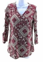 Absolute Angel Womens Burgundy Floral 3/4 Sleeve Cold Shoulder Top Size Small