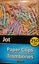 250 PAPER CLIPS VINYL COATED 28 mm ASSORTED PASTEL COLORS SEE MY OTHER ITEMS