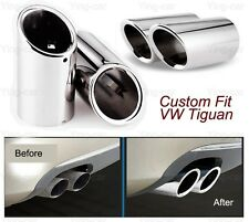 2Pcs Silver Exhaust Muffler Tail Pipe Tip Tailpipe Fit For VW Tiguan 2017-2018