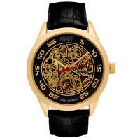 Croton Men's CI331095YGBK Automatic Skeleton Dial Black Strap 40mm Watch