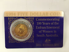 1994 $5 coin 100 Years of the Enfranchisement of Women in SA