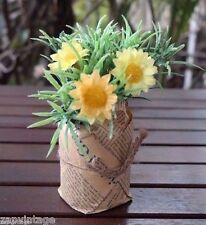 Mini Artificial Flower Plant Fake Floral Decor Summer Shabby Chic News Paper