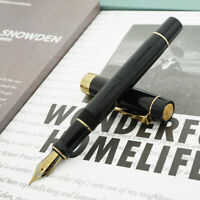 Jinhao 8802 Sea Shell /& Redwood Fountain Pen with Real Black Leather Pen Case