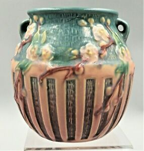 ROSEVILLE PINK / GREEN CHERRY BLOSSOM VASE #618-5 - CA:1933- FOIL LABEL-EXC COND