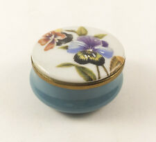 Cartier Enamel Box Blue Flowers Pansies Brass Trinket Jewelry Gift