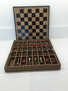 VINTAGE CHESS SET BRASS AND PEWTER PIECES