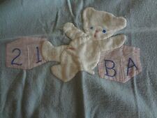 "Vintage baby novelty crib blanket applique bear 28 x 33 "" blue pink"