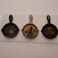 Three Vintage Painted Mini Cast Iron Skillets