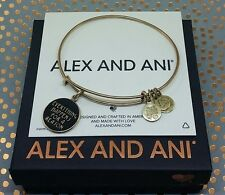 "Alex and Ani ""Everything Happens For A Reason"" Black Enamel Gold Bangle Bracelet"