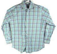 Peter Millar Mens Size Large Button Down Casual Dress Shirt Multi Color Check