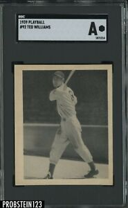 "1939 Play Ball Playball #92 Ted Williams RC Rookie HOF SGC "" NO CREASES """
