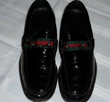 f93844874ce Mens Gucci Horsebit Black Patent Shiny Leather Red Green Stripe Loafer Size  10 D