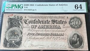 $500 1864 PMG MS64 Conderate States Of America