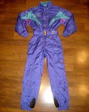 Vtg 80s DESCENTE Purple Womens 8 One piece Neon SKI BIB Snow Suit Coat Snowsuit