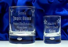 Engraved Jager Bomb BIRTHDAY Glass Gift Set in Silk Box 18th/21st/Girls/Male/Boy
