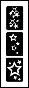 Glitzer Tattoo Schablonen 3 teilig Sterne, Airbrush