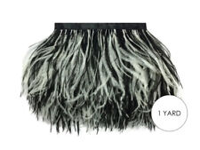 1 Yard - Black & White Ostrich Fringe Trim Wholesale Feather Halloween Wedding