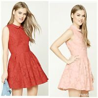 Forever 21 Floral EMBROIDERED Pleated Peter Pan Collar DRESS Pink Coral S/M