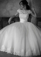 Stock White/Ivory Cap Sleeve Wedding Dresses Ball Gown Bridal Gown Size UK4-6-16
