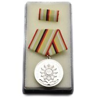 East German GDR Military Army Silver Medal with Ribbon Bar for Excellent Merit