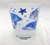 St Thomas US Virgin Islands dolphin undersea motif  shot glass