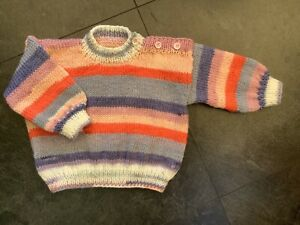 Hand knitted baby Jumper in Purples, Peach & White. 1-2 years. New