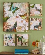 5 Pc Canvas Wall Art Set Butterflies Love Joy Living Room Den Accent Home Decor