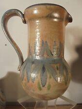 Céramique Vintage 50 Rare Pichet Feuille Irisé HUGUETTE BESSONE Vallauris 2/4