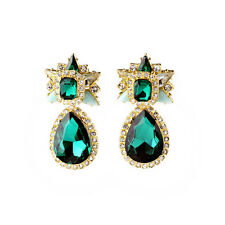 Costume Fashion Earrings Clips Pendant Gold Drop Green Emerald Star Marriage  J4