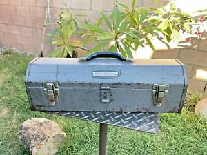 Vintage 1950's Craftsman 6516 Tombstone Tool Box With Crown Logo & Tray
