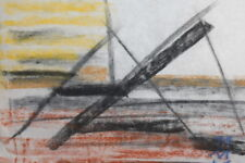 CUBISM PASTEL DRAWING SIGNED