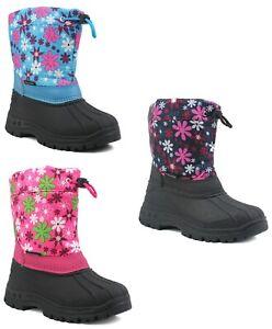 Girls Kids Floral Pattern Thermal Fleece Lined Zip Up Winter Rain snow Boots