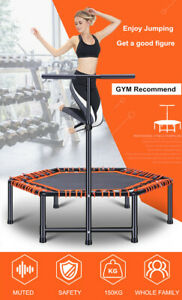 48'' Fitness Trampoline With Handle Hexagon Workout Aerobic Weight Loss