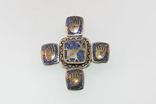VTG COP 925 STERLING ENAMEL 4 POINT PENDANT SOUTHWESTERN DEER AND BEAR PAWS