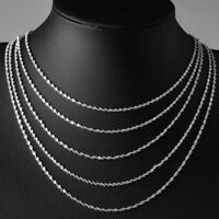 925 Sterling Silver Rope Necklace 2mm Plated anti-tarnish Rhodium 16 through 30""