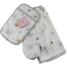 Kate Spade Starburst Tea Kitchen Towel Oven Mitt Potholder Christmas White Slvr