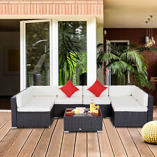 Outsunny 7PC Outdoor Patio Furniture Rattan Wicker Sofa Set Cushioned Couch