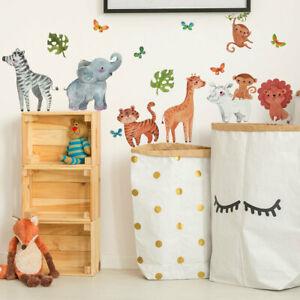 Jungle Animals Wall Stickers Giraffe Elephant Lion Decals Art Mural Baby Nursery