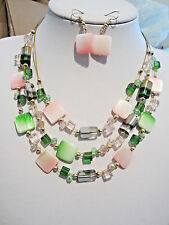 Three Layers Multi Pink And Square Shell Glass Bead Necklace Earring Set