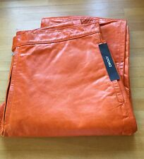 New With Tags DKNY Burnt Orange Fully Lined Genuine Leather Trousers Size 34