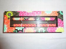 Vera Bradley Ziggy Zinnia Black Ball Point Pen & Pencil Set #15566-163 - NWT