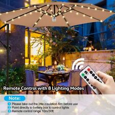 Outdoor Solar Garden Umbrella 104 LED Lights Patio Sun Shade Beach Decoration