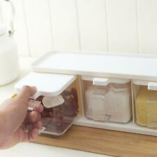 3 Grids Spice Boxes Rack Condiment Storage Seasoning Container Kitchen Food Jar