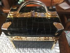 VINTAGE BLACK EMBOSSED CROCODILE BOX BAG,PURSE,COMECO,BORSA BELLO,HANDBAG,TRUNK
